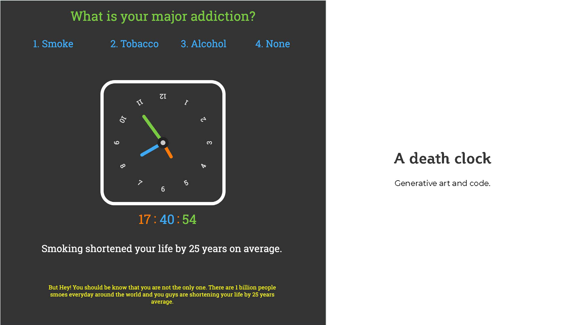 Addiction clock - A creative coding with p5.js Case Study